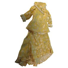 Antique 2 Pc Yellow Brocade Large French Fashion Doll Dress