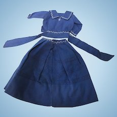 Vintage Small Hand Sewn Sailor  French Fashion Doll Dress
