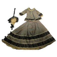 Vintage 3 Pc French Fashion Doll Dress