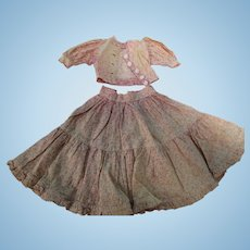 Antique 2 Pc Pink Calico French Fashion Dress