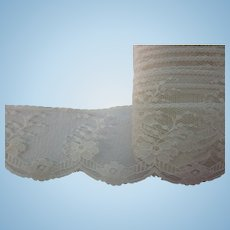 "Vintage Cream 2"" Wide Scalloped Floral Lace Yards"