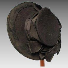Victorian Black Wool & Silk Ribbon Ladies Hat