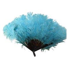 Vintage 1920/30's Blue Ostrich Feather Fan VGC