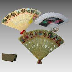 Vintage Lot of 4 Small Child's Souvenir Plastic Fans