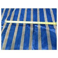 Victorian Navy Blue Tan Stripe Velvet Upholstery Fabric
