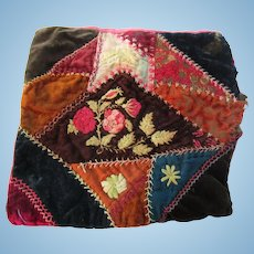 Small Crazy Quilt Embroidered Doll Pillow