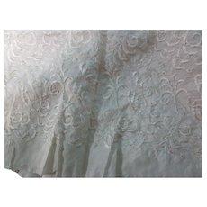 Vintage Cream Embroidered Silk Fabric 34 X 3+ Yards