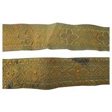 """Vintage 1 1/2"""" Gold Metallic Ribbon Trim 2 yards"""