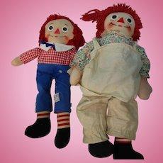 "Vintage Pair 18"" Raggedy Ann & 15"" Andy Dolls TLC"