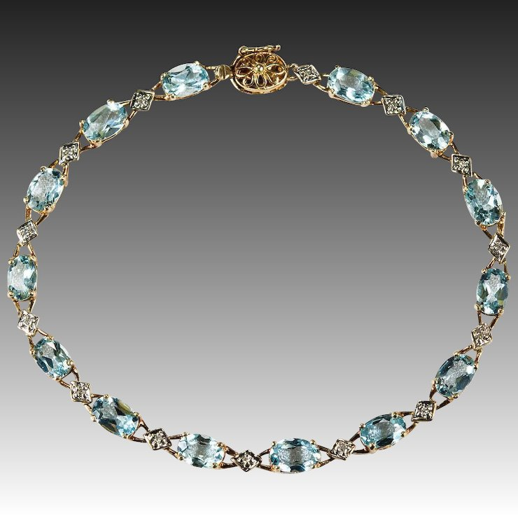 Aquamarine Diamond Bracelet 10k Plumb Gold