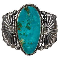 Navajo Turquoise Cuff Bracelet Sterling Silver Signed Native American