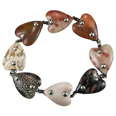 Incredible Stone Hearts Bracelet Sterling Silver Hand Crafted Heart Bracelet