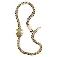 Teddy Bear Bracelet 14k Gold Curb Link Charm Bracelet
