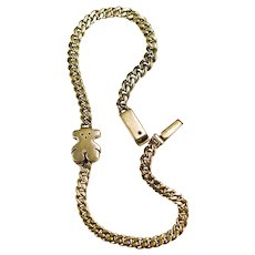 Teddy Bear Bracelet 14k Gold Solid Locking Curb Link Teddy Bracelet