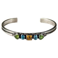 Mixed Gemstone Bracelet Don Lucas 925 Sterling Silver Heart Peridot Topaz Citrine Cuff Bangle Bracelet