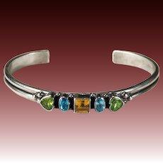 Mixed Gemstone Bracelet Don Lucas 925 Sterling Silver Heart Peridot Topaz Citrine Cuff Bangle Bracelet