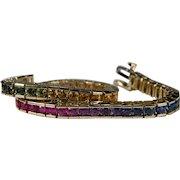 Rainbow Sapphire Line Bracelet 8.40ctw 14k Gold Multi Color Sapphire Bracelet