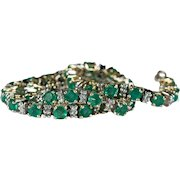 4.75ctw Natural Emerald Diamond Tennis Bracelet 14k Gold Emerald Bracelet