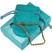 Tiffany Rope Chain Bracelet 14k Gold Original Box Tiffany Bracelet