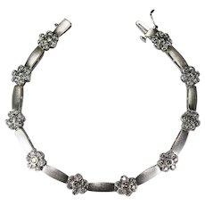 Diamond Flower Bracelet 2.80ctw 14k Gold Vintage Diamond Tennis Bracelet