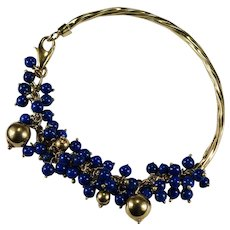 Lapis Charm Bracelet 18k Gold 750 Lapis Beaded Fringe Cuff Bangle Bracelet