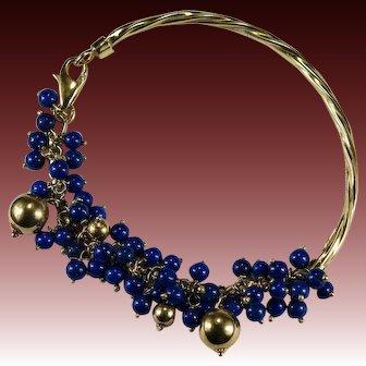 Lapis Charm Bracelet 18k Gold 750 Lapis Beaded Fringe Cuff Bangle Bracelet