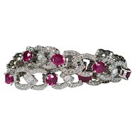 Natural Ruby Diamond Bracelet 13.75ctw 14k Gold Diamond Ruby Tennis Bracelet