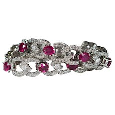Natural Ruby Diamond Bracelet 13.75ctw 14k Gold Diamond Ruby Tennis Bracelet