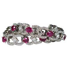 Ruby Diamond Bracelet 13.75ctw 14k Gold Tennis Diamond Infinity Love Knot Ruby Bracelet