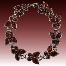 Poland Baltic Cognac Cherry Amber Butterfly Bracelet Sterling Silver 925 Butterfly Link Bracelet