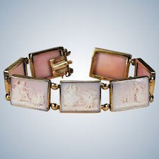 Giovanni Carved Pink Coral Seven Days Of The Week 14k Gold Bracelet With Original Box