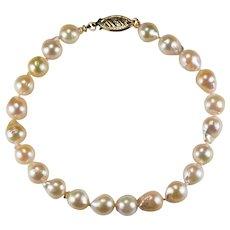 Akoya Golden Baroque Pearl 14k Gold Pearl Bracelet