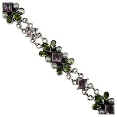 Amethyst Peridot Cultured Pearl 925 Sterling Mixed Gemstone Nicky Butler Bracelet