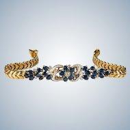 Sapphire Diamond Bracelet 18k Gold Mixed Gemstone 4.60ctw Sapphire Flower Bracelet