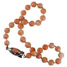 Natural Angel Skin Coral Bracelet 925 Sterling Hand Knotted Strand Coral Beaded Bracelet