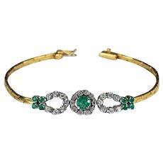 Emerald Diamond Bracelet 3ctw 18k Double Diamond Horse Shoe Natural Emerald Bracelet