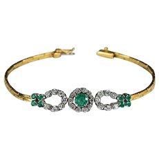 Emerald Diamond Bracelet 3ctw 18k Double Horse Shoe Diamond Emerald Bracelet