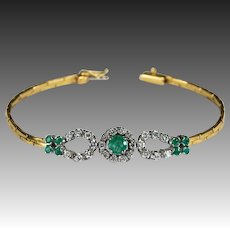 Emerald Diamond Bracelet 3ctw 18k Double Horse Shoe Diamond Emerald Bracelet