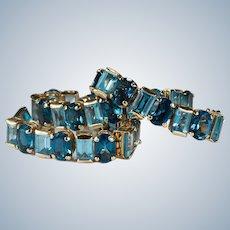 Mixed Blue Topaz Bracelet 32ctw 14k Gold London Blue Swiss Blue Topaz Tennis Bracelet