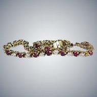 Vintage Ruby Diamond Tennis Bracelet 5.25ctw 14k Gold Classic Genuine Diamond Ruby Bracelet