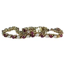 Vintage Ruby Diamond Tennis Bracelet 5.25ctw 14k Gold Classic Genuine Diamond Ruby Bracelet