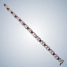 Infinity Love Knot 13.75ctw Ruby Diamond Bracelet 14k Gold Diamond Ruby Tennis Bracelet
