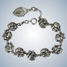 Sterling Silver Carved Roses Religious Medals Bracelet Miraculous Medal