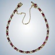 "Ruby Diamond Tennis Bracelet 4.35ctw 14k Gold Vintage Bracelet 6 5/8"""