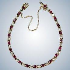 Ruby Diamond Tennis Bracelet 4.35ctw 14k Gold Vintage Genuine Diamond Ruby Bracelet
