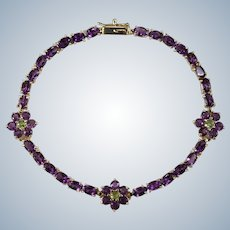 Natural Amethyst Peridot Flower Tennis Bracelet 14k Gold 7.70ctw
