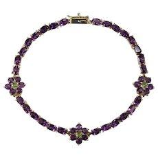 Natural Purple Amethyst Peridot Flower Tennis Bracelet 14k Gold 7.70ctw
