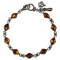 Natural Baltic Amber Bracelet Designer Charm 925 Sterling Silver Cabochon Amber Bracelet/Anklet