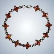 Natural Baltic Amber Bracelet 925 Sterling Silver Sugar Loaf Cabochon Amber