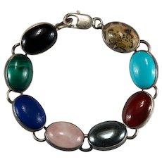 Mixed Stone Sterling Bracelet 925 Genuine Jasper Onyx Lapis Turquoise